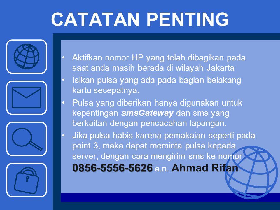 CATATAN PENTING Aktifkan nomor HP yang telah dibagikan pada saat anda masih berada di wilayah Jakarta Isikan pulsa yang ada pada bagian belakang kartu