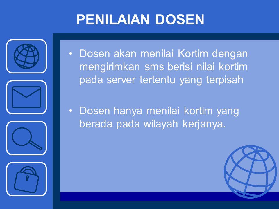 PENILAIAN DOSEN Dosen akan menilai Kortim dengan mengirimkan sms berisi nilai kortim pada server tertentu yang terpisah Dosen hanya menilai kortim yan