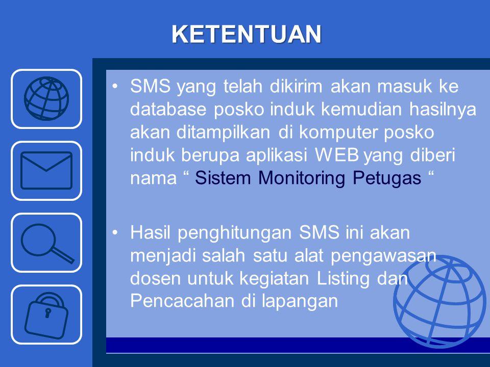 KETENTUAN SMS yang telah dikirim akan masuk ke database posko induk kemudian hasilnya akan ditampilkan di komputer posko induk berupa aplikasi WEB yan
