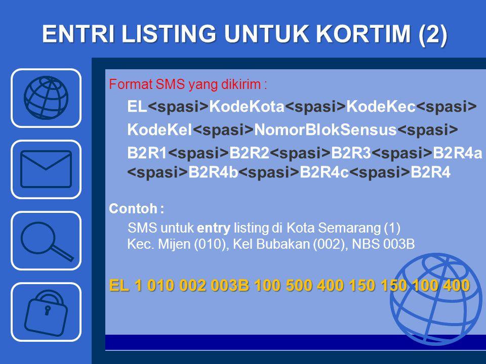 ENTRI LISTING UNTUK KORTIM (2) Format SMS yang dikirim : EL KodeKota KodeKec KodeKel NomorBlokSensus B2R1 B2R2 B2R3 B2R4a B2R4b B2R4c B2R4 Contoh : SM