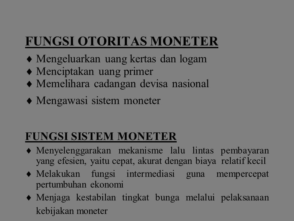 FUNGSI OTORITAS MONETER  Mengeluarkan uang kertas dan logam  Menciptakan uang primer  Memelihara cadangan devisa nasional  Mengawasi sistem monete