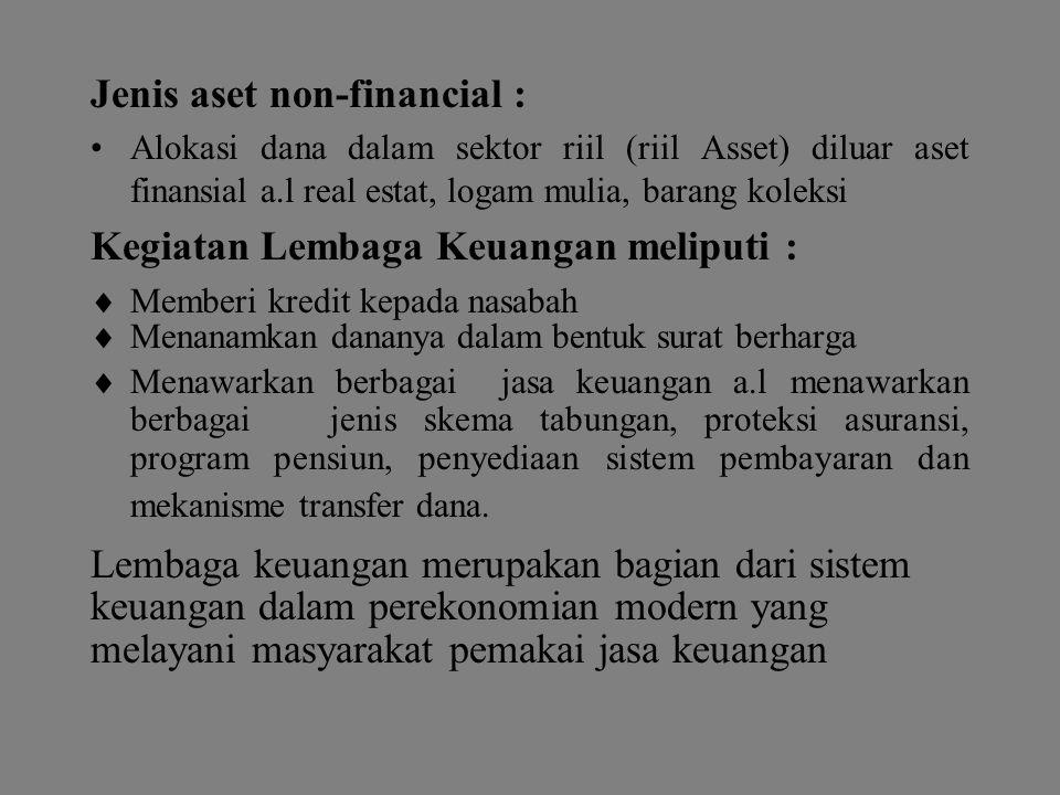 Jenis aset non-financial : Alokasi dana dalam sektor riil (riil Asset) diluar aset finansial a.l real estat, logam mulia, barang koleksi Kegiatan Lemb