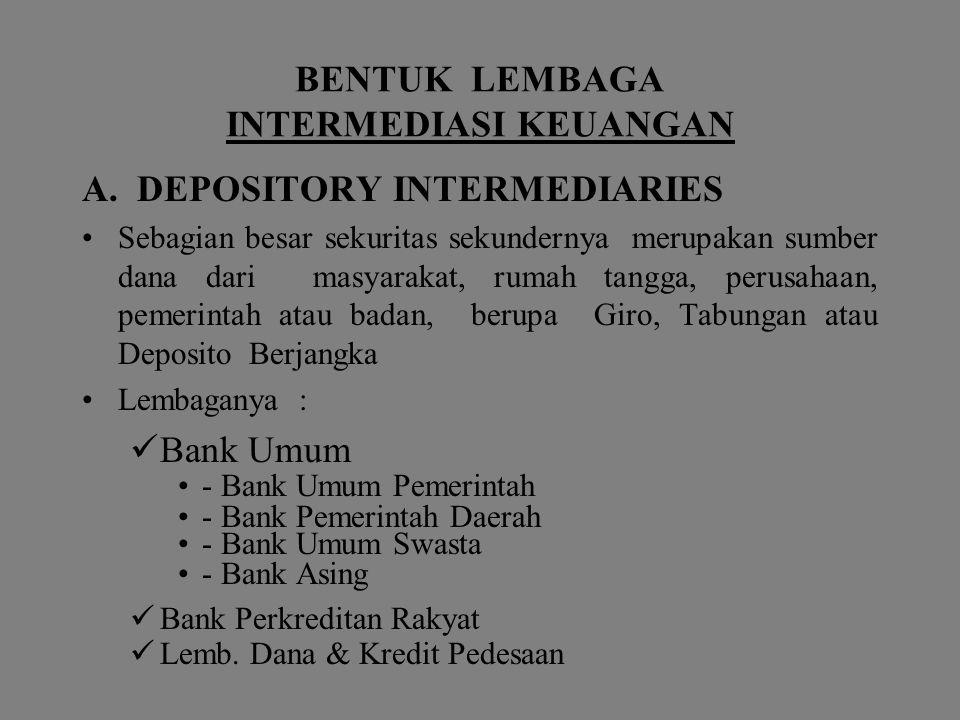 B.Non Depository Intermediaries terdiri dari : 1.