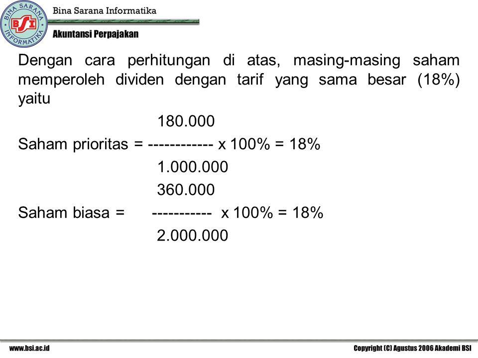 Dengan cara perhitungan di atas, masing-masing saham memperoleh dividen dengan tarif yang sama besar (18%) yaitu 180.000 Saham prioritas = -----------