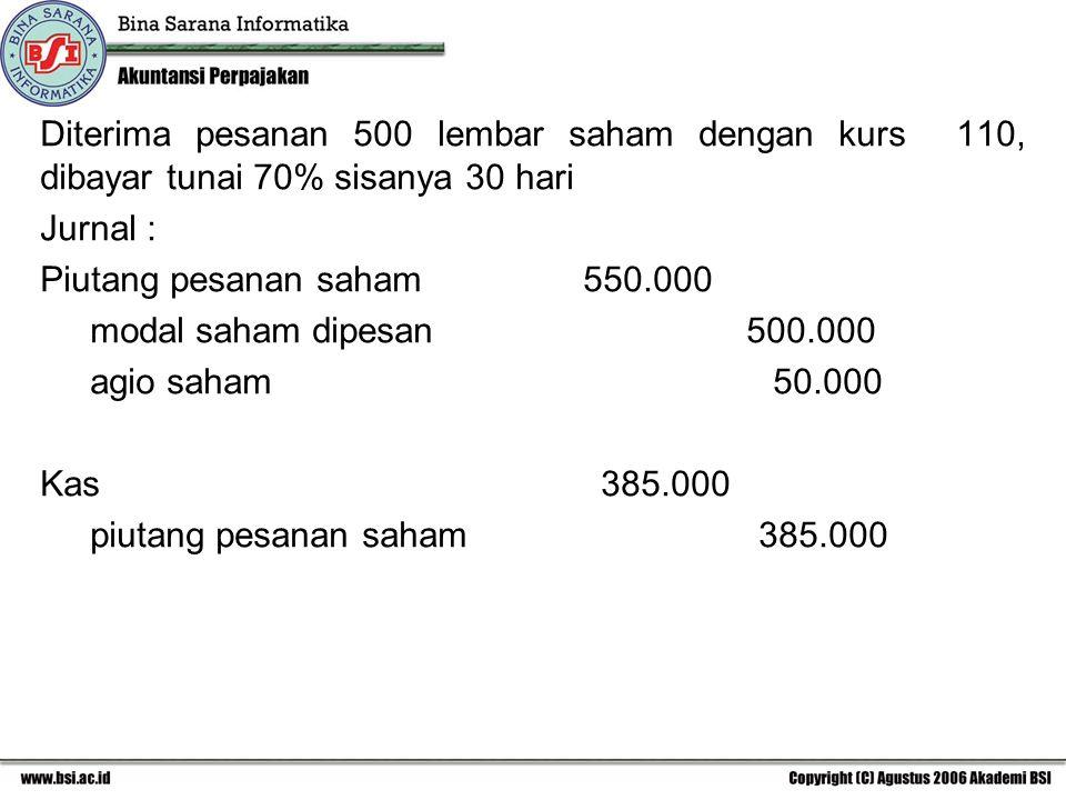 Diterima pesanan 500 lembar saham dengan kurs 110, dibayar tunai 70% sisanya 30 hari Jurnal : Piutang pesanan saham 550.000 modal saham dipesan 500.00