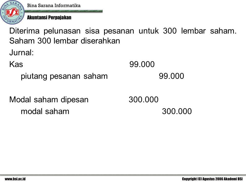 Diterima pelunasan sisa pesanan untuk 300 lembar saham. Saham 300 lembar diserahkan Jurnal: Kas 99.000 piutang pesanan saham 99.000 Modal saham dipesa