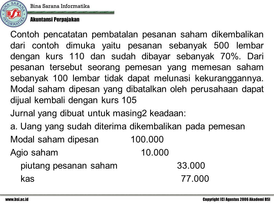 Contoh pencatatan pembatalan pesanan saham dikembalikan dari contoh dimuka yaitu pesanan sebanyak 500 lembar dengan kurs 110 dan sudah dibayar sebanya