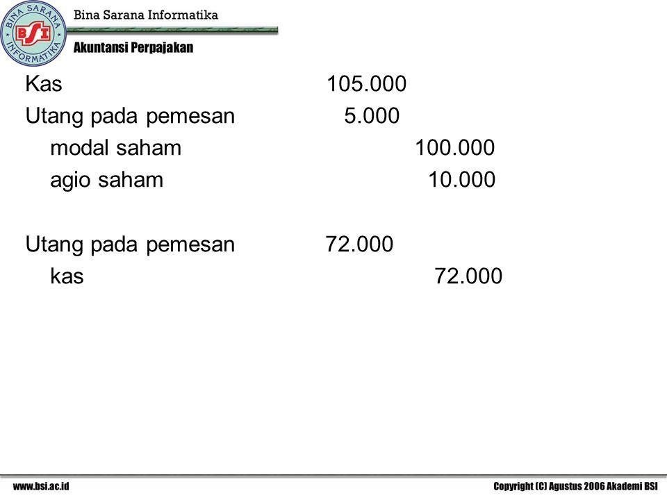 Kas 105.000 Utang pada pemesan 5.000 modal saham 100.000 agio saham 10.000 Utang pada pemesan 72.000 kas 72.000