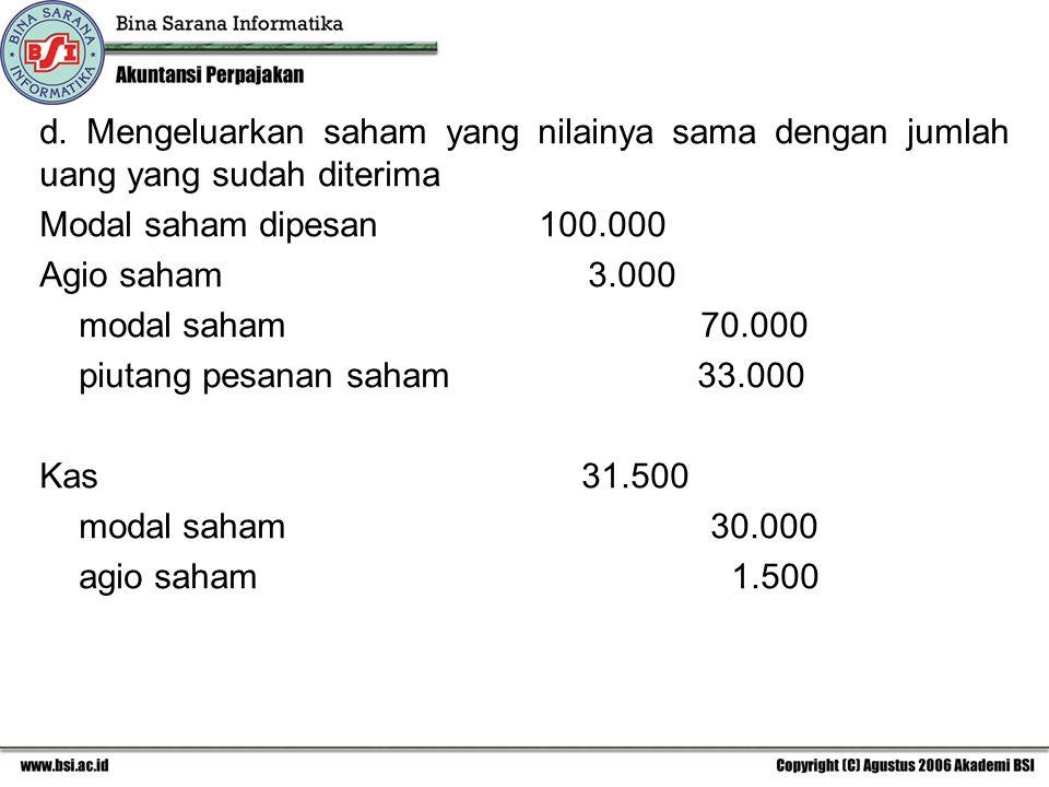 d. Mengeluarkan saham yang nilainya sama dengan jumlah uang yang sudah diterima Modal saham dipesan 100.000 Agio saham 3.000 modal saham 70.000 piutan