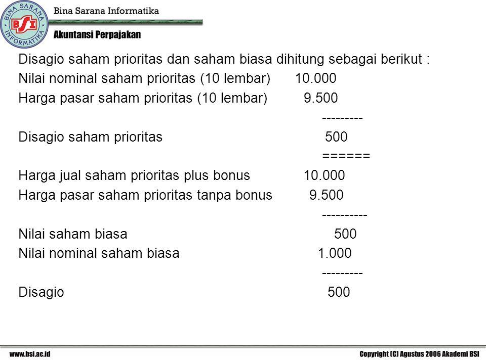 Disagio saham prioritas dan saham biasa dihitung sebagai berikut : Nilai nominal saham prioritas (10 lembar) 10.000 Harga pasar saham prioritas (10 le