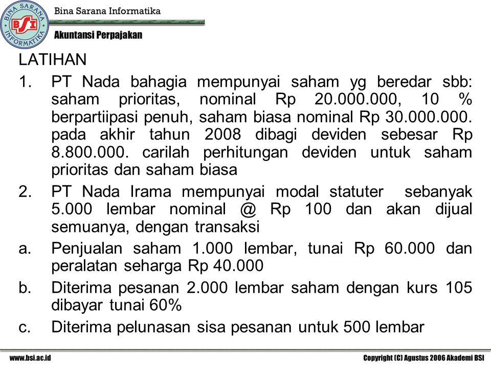 LATIHAN 1.PT Nada bahagia mempunyai saham yg beredar sbb: saham prioritas, nominal Rp 20.000.000, 10 % berpartiipasi penuh, saham biasa nominal Rp 30.