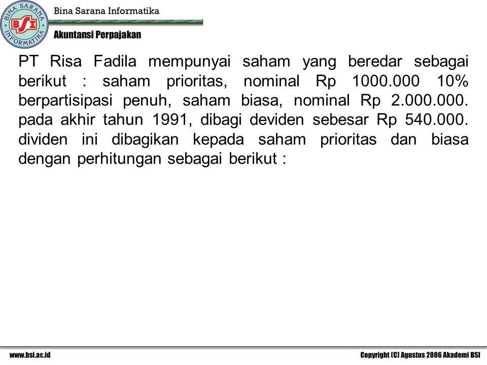 PT Risa Fadila mempunyai saham yang beredar sebagai berikut : saham prioritas, nominal Rp 1000.000 10% berpartisipasi penuh, saham biasa, nominal Rp 2