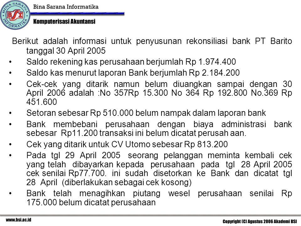 Berikut adalah informasi untuk penyusunan rekonsiliasi bank PT Barito tanggal 30 April 2005 Saldo rekening kas perusahaan berjumlah Rp 1.974.400 Saldo