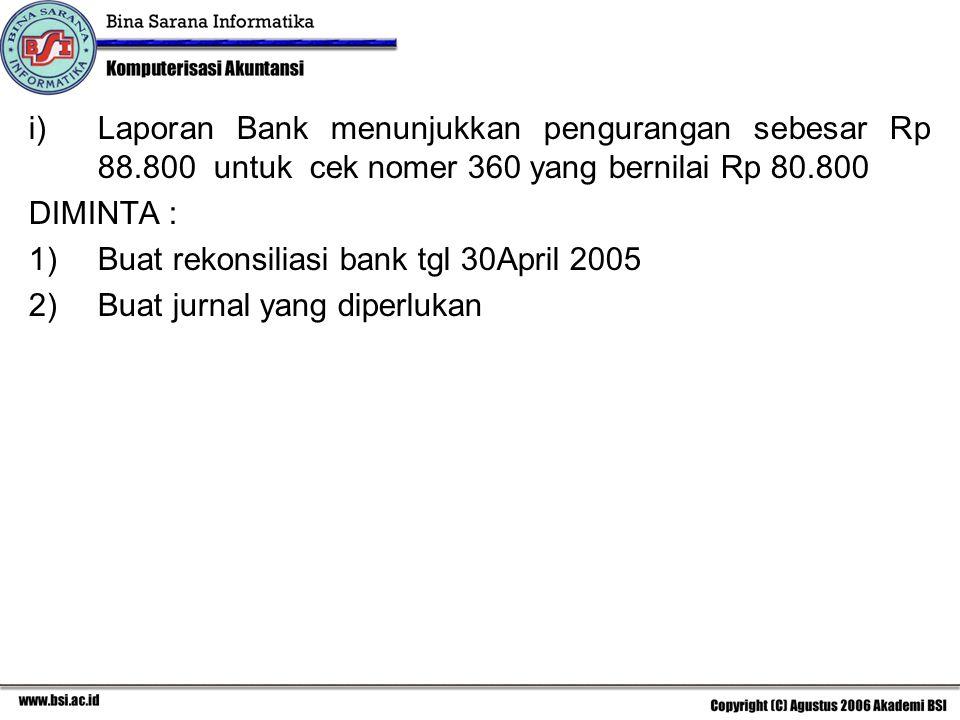 i)Laporan Bank menunjukkan pengurangan sebesar Rp 88.800 untuk cek nomer 360 yang bernilai Rp 80.800 DIMINTA : 1)Buat rekonsiliasi bank tgl 30April 20