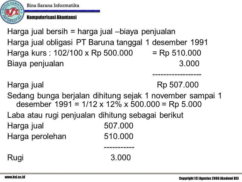 Harga jual bersih = harga jual –biaya penjualan Harga jual obligasi PT Baruna tanggal 1 desember 1991 Harga kurs : 102/100 x Rp 500.000= Rp 510.000 Bi