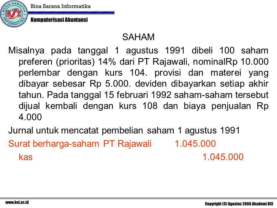 SAHAM Misalnya pada tanggal 1 agustus 1991 dibeli 100 saham preferen (prioritas) 14% dari PT Rajawali, nominalRp 10.000 perlembar dengan kurs 104. pro
