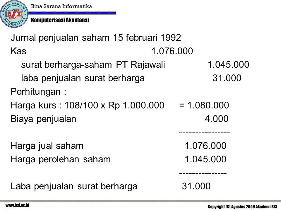 Jurnal penjualan saham 15 februari 1992 Kas1.076.000 surat berharga-saham PT Rajawali1.045.000 laba penjualan surat berharga 31.000 Perhitungan : Harg
