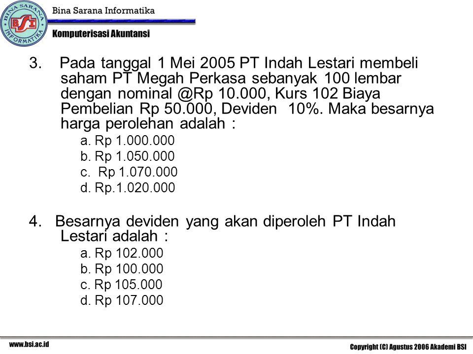 3. Pada tanggal 1 Mei 2005 PT Indah Lestari membeli saham PT Megah Perkasa sebanyak 100 lembar dengan nominal @Rp 10.000, Kurs 102 Biaya Pembelian Rp