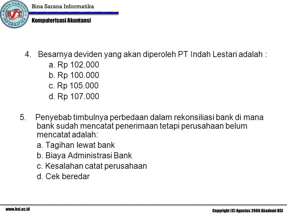 4. Besarnya deviden yang akan diperoleh PT Indah Lestari adalah : a. Rp 102.000 b. Rp 100.000 c. Rp 105.000 d. Rp 107.000 5. Penyebab timbulnya perbed