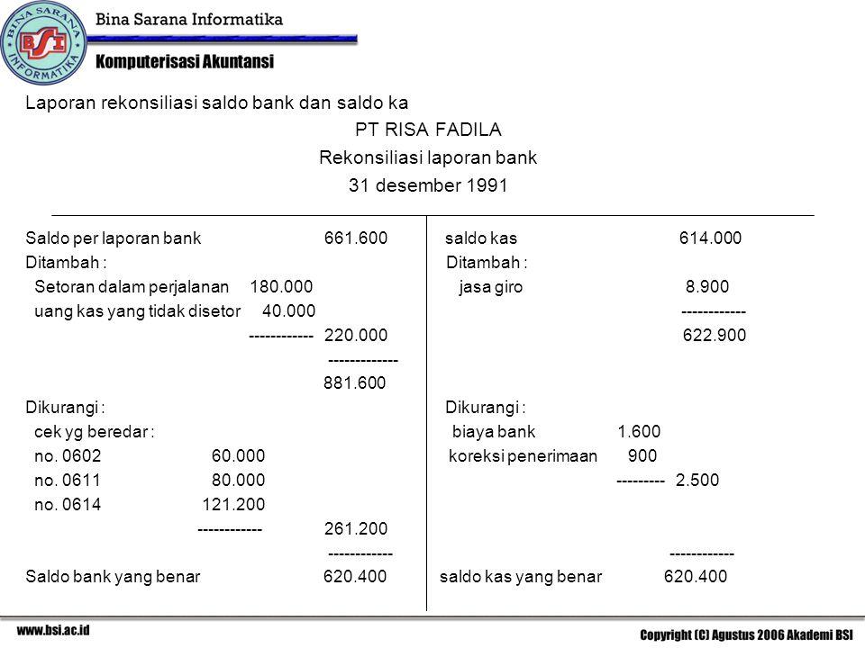 Laporan rekonsiliasi saldo bank dan saldo ka PT RISA FADILA Rekonsiliasi laporan bank 31 desember 1991 Saldo per laporan bank 661.600 saldo kas 614.00