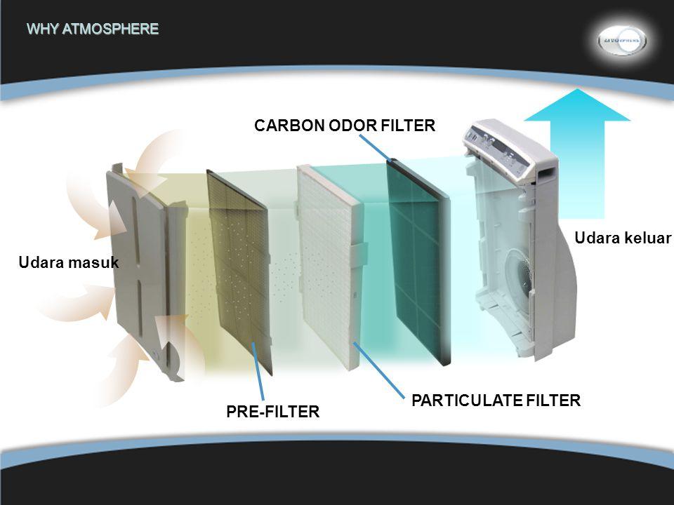 12 WHY ATMOSPHERE PARTICULATE FILTER CARBON ODOR FILTER PRE-FILTER Udara masuk Udara keluar