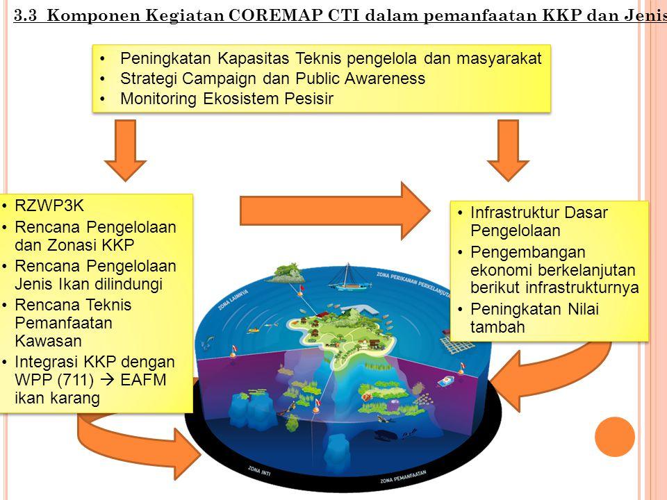 3.3 Komponen Kegiatan COREMAP CTI dalam pemanfaatan KKP dan Jenis RZWP3K Rencana Pengelolaan dan Zonasi KKP Rencana Pengelolaan Jenis Ikan dilindungi