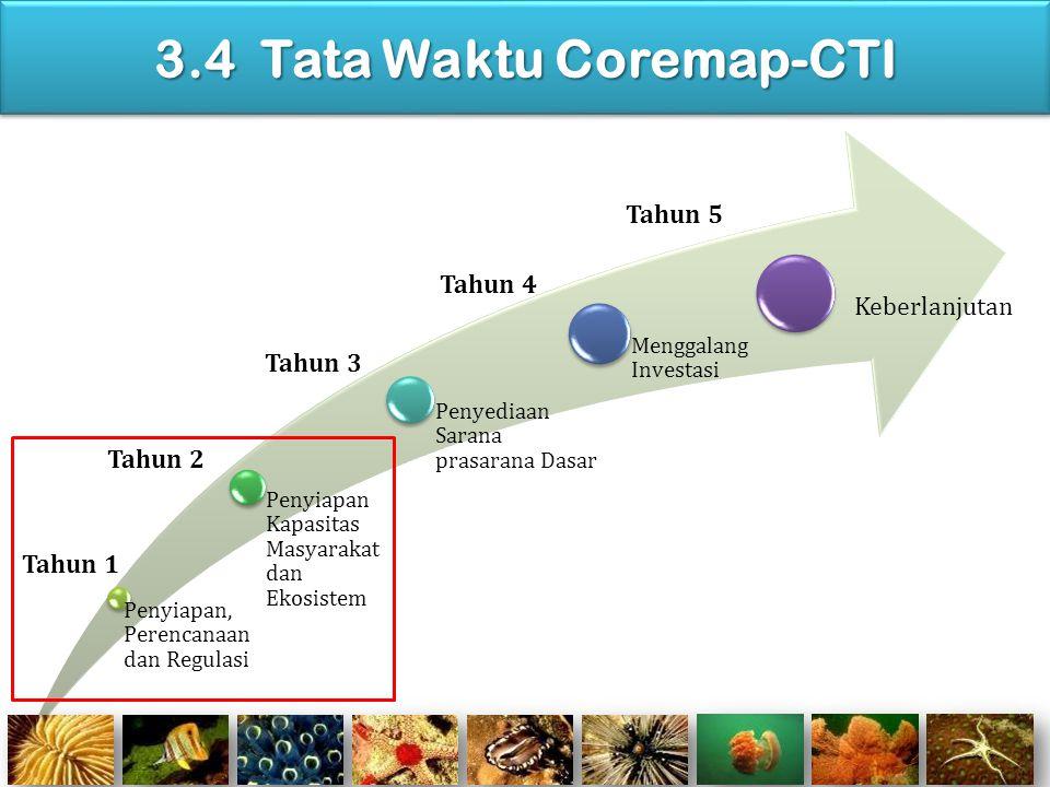 3.4 Tata Waktu Coremap-CTI Penyiapan, Perencanaa n dan Regulasi Penyiapan Kapasitas Masyarakat dan Ekosistem Penyediaan Sarana prasarana Dasar Menggal