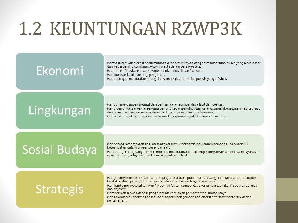 1.2 KEUNTUNGAN RZWP3K Memfasilitasi akselerasi pertumbuhan ekonomi wilayah dengan memberikan akses yang lebih besar dan kepastian hukum bagi sektor sw