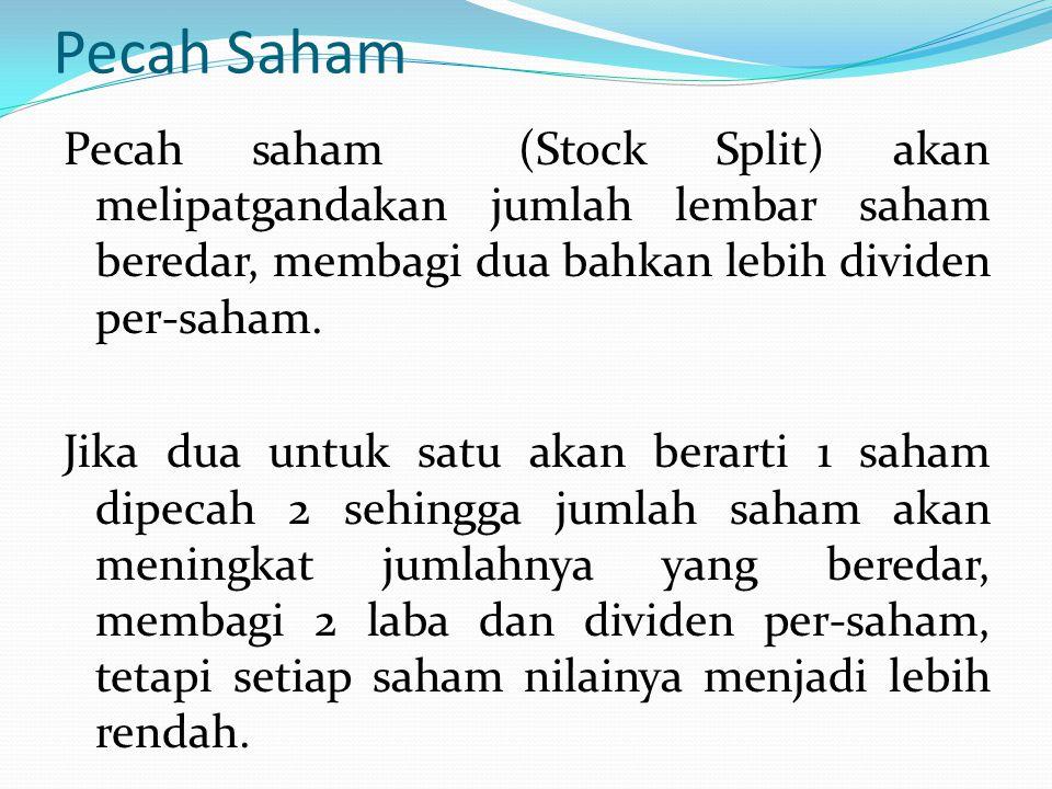 Pecah Saham Pecah saham (Stock Split) akan melipatgandakan jumlah lembar saham beredar, membagi dua bahkan lebih dividen per-saham. Jika dua untuk sat