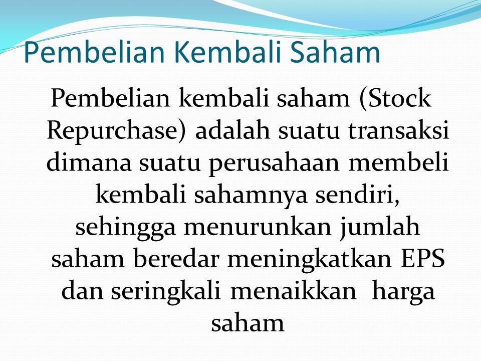 Pembelian Kembali Saham Pembelian kembali saham (Stock Repurchase) adalah suatu transaksi dimana suatu perusahaan membeli kembali sahamnya sendiri, se