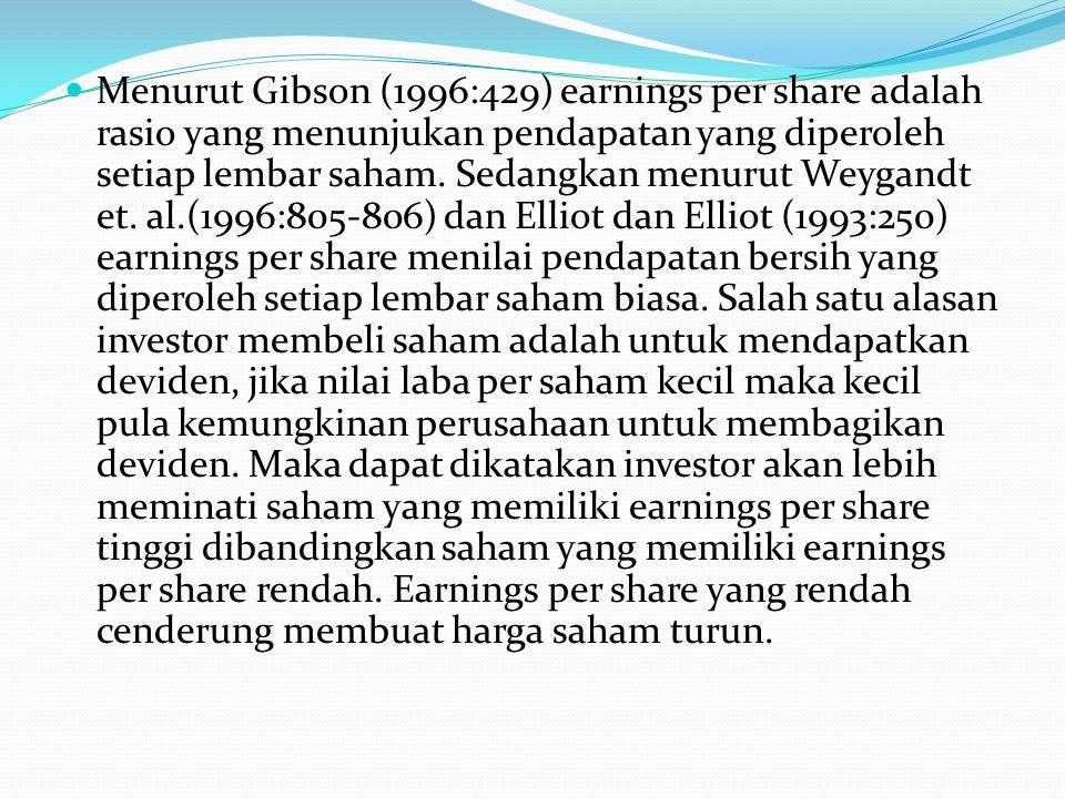Menurut Gibson (1996:429) earnings per share adalah rasio yang menunjukan pendapatan yang diperoleh setiap lembar saham. Sedangkan menurut Weygandt et