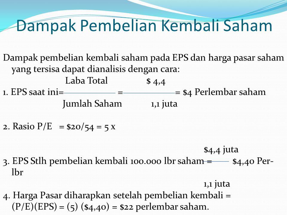 Dampak Pembelian Kembali Saham Dampak pembelian kembali saham pada EPS dan harga pasar saham yang tersisa dapat dianalisis dengan cara: Laba Total$ 4,