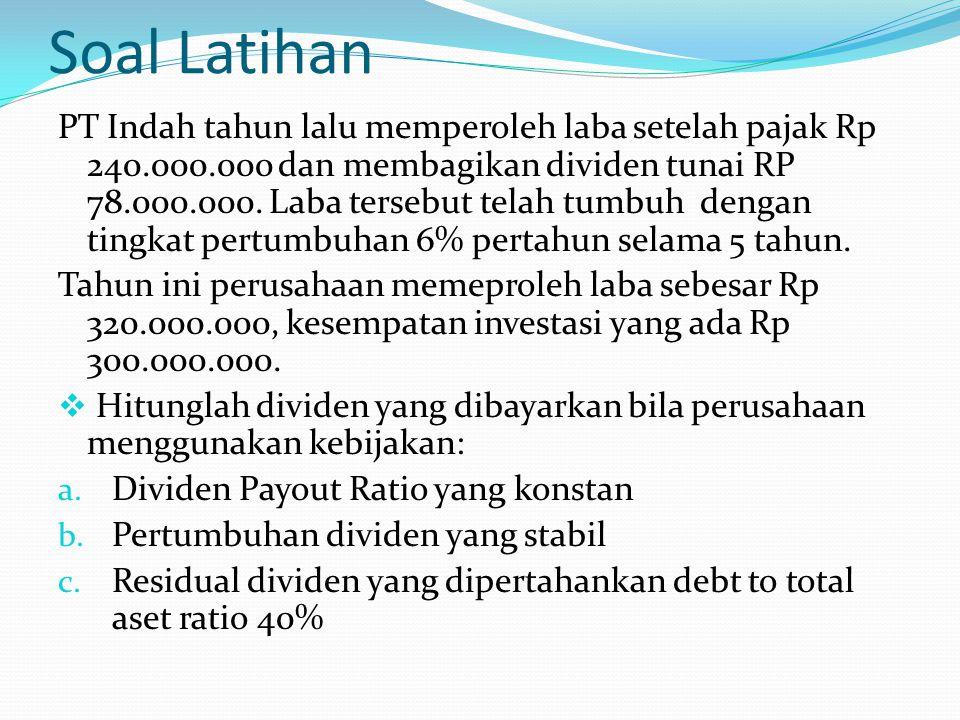 Soal Latihan PT Indah tahun lalu memperoleh laba setelah pajak Rp 240.000.000 dan membagikan dividen tunai RP 78.000.000. Laba tersebut telah tumbuh d