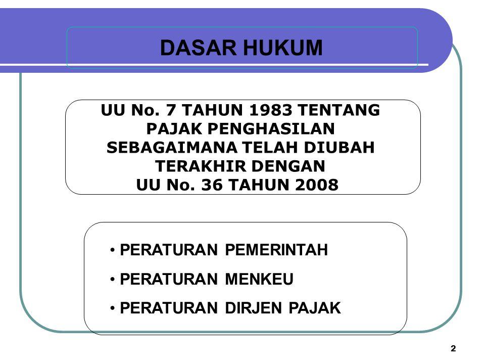 PAJAK PENGHASILAN (PPh) A D A L A H PAJAK YANG DIKENAKAN TERHADAP SUBJEK PAJAK ATAS PENGHASILAN YANG DITERIMA ATAU DIPEROLEHNYA DALAM TAHUN PAJAK Pasal 1