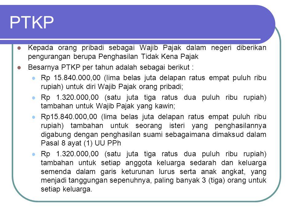 Penentuan PTKP Besarnya PTKP ditentukan berdasarkan keadaan pada awal tahun kalender.