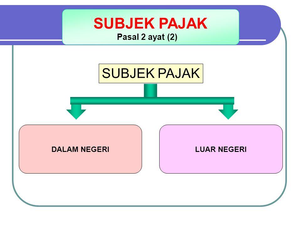 ORANG PRIBADI : - BERTEMPAT TINGGAL / BERADA DI INDONESIA LEBIH DARI 183 HARI DLM 12 BULAN; ATAU - DALAM SUATU TAHUN PAJAK BERADA DI INDONESIA DAN MEMPUNYAI NIAT BERTEMPAT TINGGAL DI INDONESIA WARISAN YANG BELUM TERBAGI SUBJEK PAJAK DALAM NEGERI BADAN YANG DIDIRIKAN ATAU BERTEMPAT KEDUDUKAN DI INDONESIA Pasal 2 ayat (3)