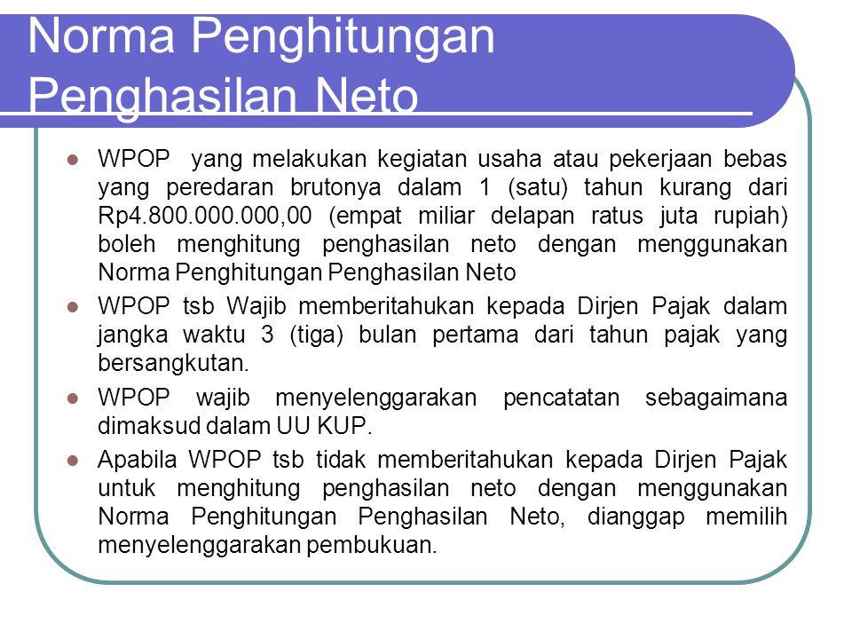 Norma Penghitungan Penghasilan Neto Norma Penghitungan penghasilan Neto sebagaimana diatur dalam KEP-536/PJ./2000 tgl 29 Desember 2000 Norma Penghitungan Penghasilan Neto dikelompokkan menurut wilayah sebagai berikut : 10 (sepuluh) ibukota propinsi yaitu Medan, Palembang, Jakarta, Bandung, Semarang, Surabaya, Denpasar, Manado, Makassar, dan Pontianak; ibukota propinsi lainnya; daerah lainnya.