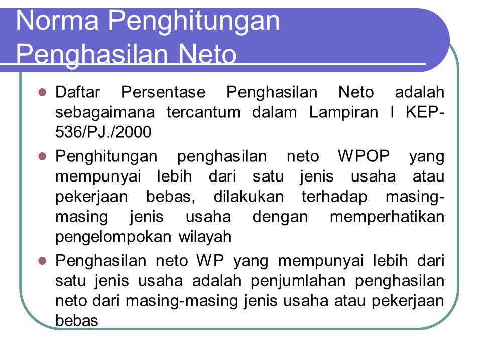 Norma Penghitungan Penghasilan Neto Penghasilan neto bagi tiap jenis usaha dihitung dengan cara mengalikan angka persentase Norma Penghitungan Penghasilan Neto dengan peredaran bruto atau penghasilan bruto dari kegiatan usaha atau pekerjaan bebas dalam 1 (satu) tahun.