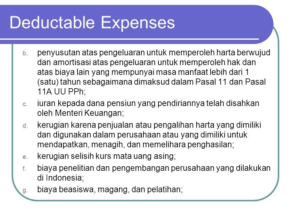 Deductable Expenses h.piutang yang nyata-nyata tidak dapat ditagih dengan syarat: 1.