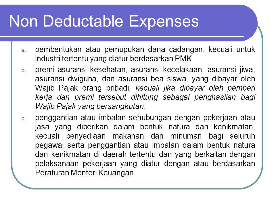 Non Deductable Expenses d.