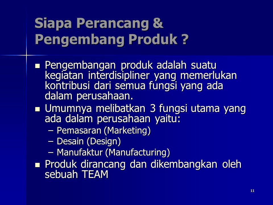 11 Siapa Perancang & Pengembang Produk ? Pengembangan produk adalah suatu kegiatan interdisipliner yang memerlukan kontribusi dari semua fungsi yang a