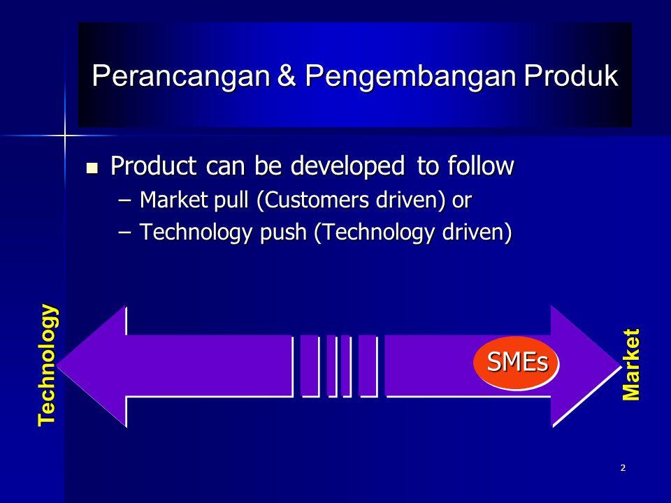 2 Perancangan & Pengembangan Produk Product can be developed to follow Product can be developed to follow –Market pull (Customers driven) or –Technolo