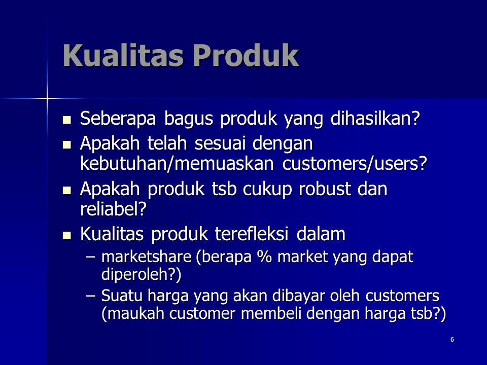 6 Kualitas Produk Seberapa bagus produk yang dihasilkan? Seberapa bagus produk yang dihasilkan? Apakah telah sesuai dengan kebutuhan/memuaskan custome