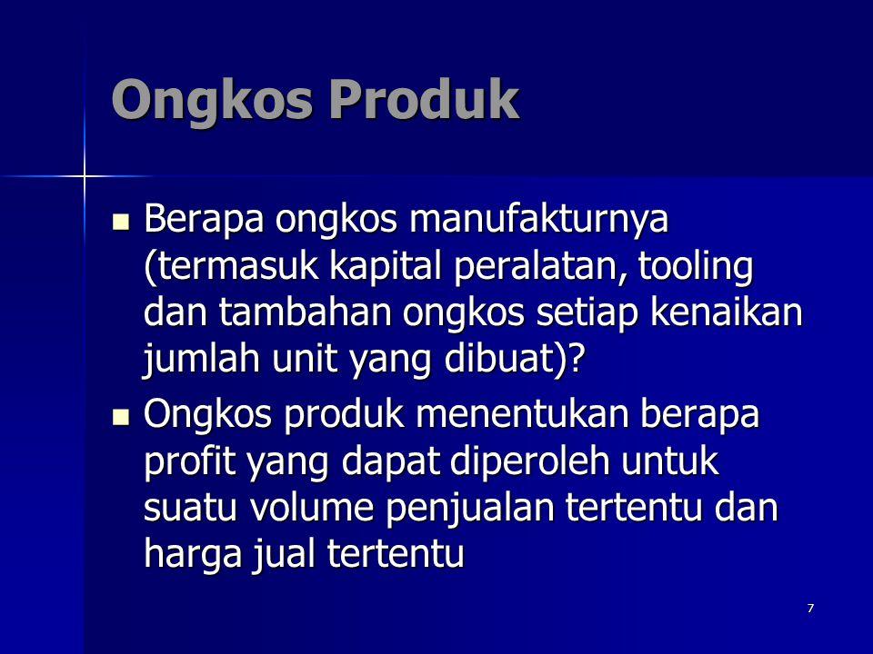 7 Ongkos Produk Berapa ongkos manufakturnya (termasuk kapital peralatan, tooling dan tambahan ongkos setiap kenaikan jumlah unit yang dibuat)? Berapa