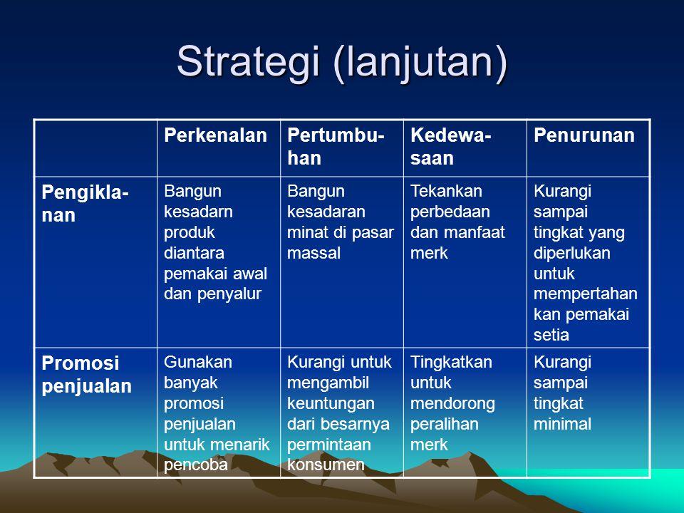 Strategi (lanjutan) PerkenalanPertumbu- han Kedewa- saan Penurunan Pengikla- nan Bangun kesadarn produk diantara pemakai awal dan penyalur Bangun kesa