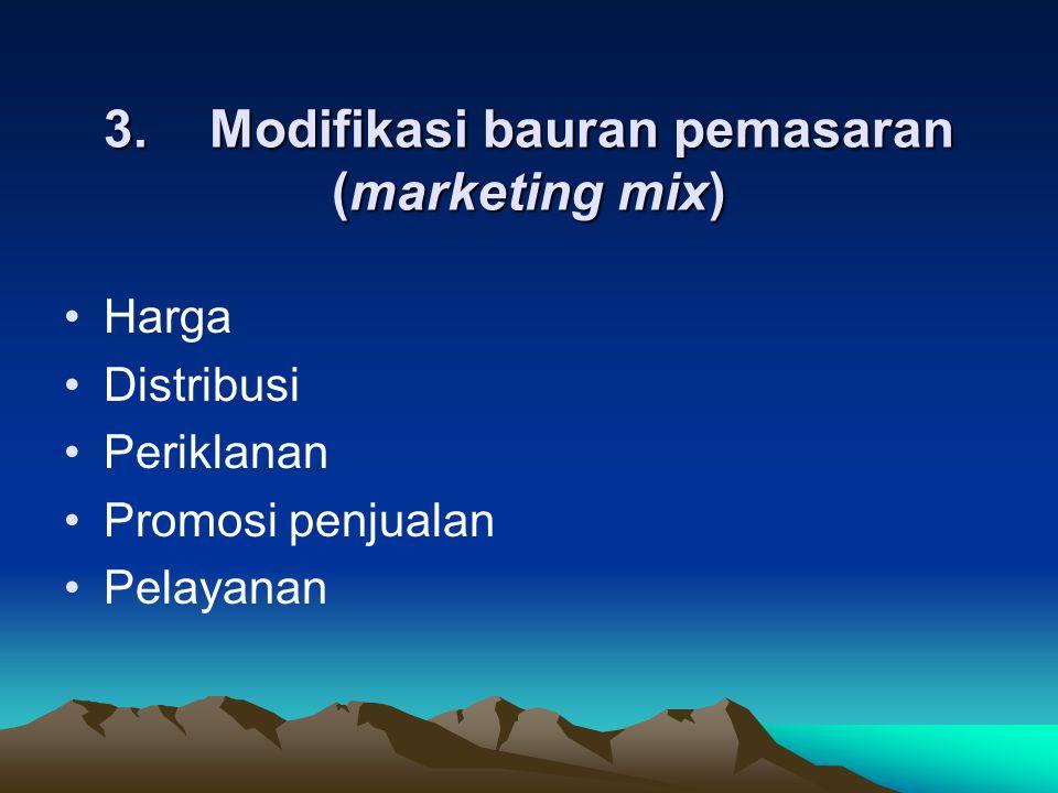 3. Modifikasi bauran pemasaran (marketing mix) Harga Distribusi Periklanan Promosi penjualan Pelayanan
