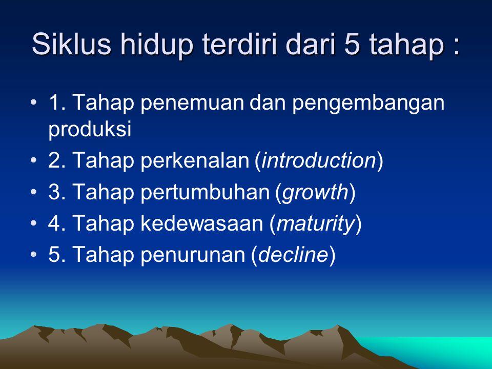 Siklus hidup terdiri dari 5 tahap : 1. Tahap penemuan dan pengembangan produksi 2. Tahap perkenalan (introduction) 3. Tahap pertumbuhan (growth) 4. Ta