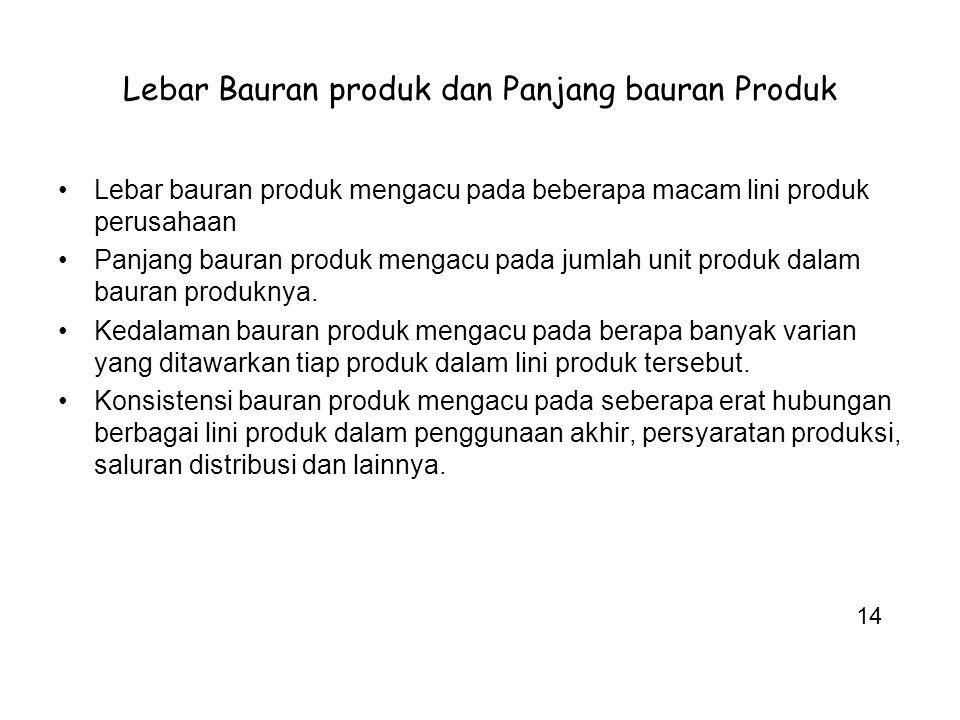 Lebar Bauran produk dan Panjang bauran Produk Lebar bauran produk mengacu pada beberapa macam lini produk perusahaan Panjang bauran produk mengacu pad