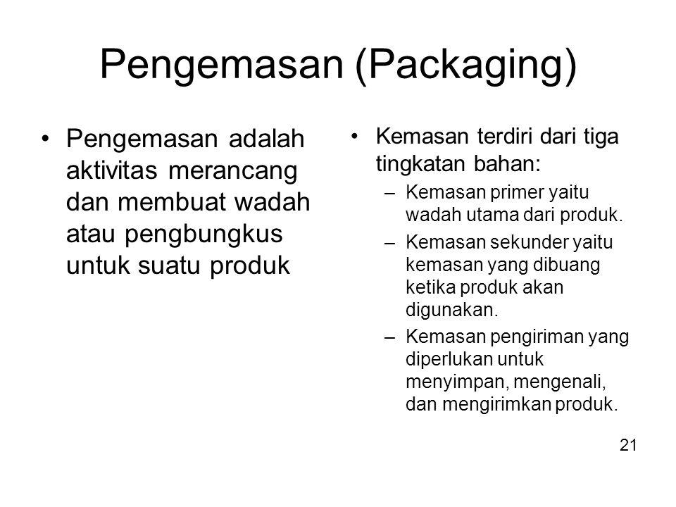 Pengemasan (Packaging) Pengemasan adalah aktivitas merancang dan membuat wadah atau pengbungkus untuk suatu produk Kemasan terdiri dari tiga tingkatan