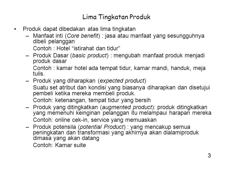 Lima Tingkatan Produk Produk dapat dibedakan atas lima tingkatan –Manfaat inti (Core benefit) : jasa atau manfaat yang sesungguhnya dibeli pelanggan C